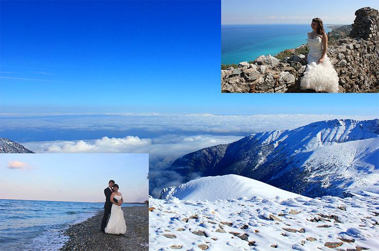 Свадебная фотосессия на Олимпе. Зимой и Летом